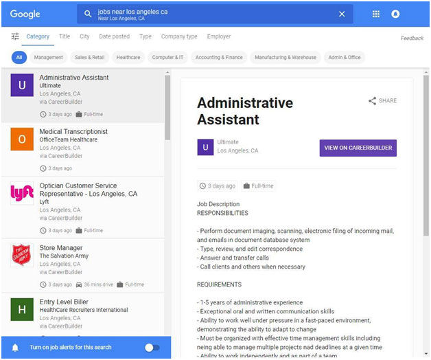 Here is an example of what Google for Jobs looks like for job seekers after clicking on the More Results link from the search results page in Google